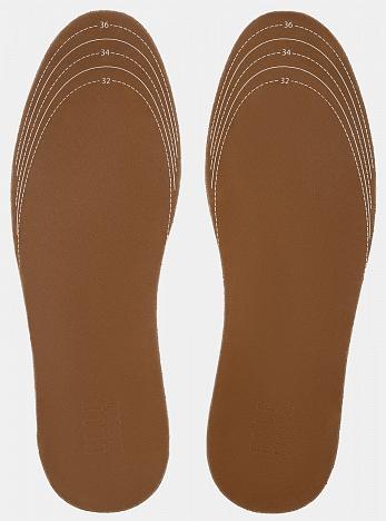 Стельки кожаные на пенной основе, размер 32-37